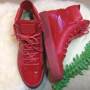 Giueseppi Zanotti Red Patent Hi top sneakers